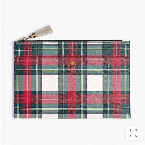 Large leather pouch in tartan plaid